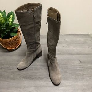 Franco Sarto gray suede leather braided side boot